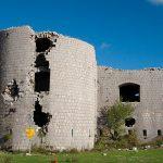 Форт Космач. Повреждения от попаданий снарядов